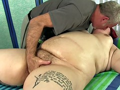 bbw big tender has her fat diet and hairy pussy massaged