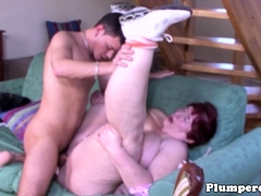 Plumper grandma doggystyled after sucking