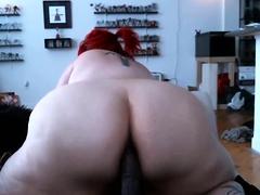 Redhead BBW puts yon the brush giant ass big dildo