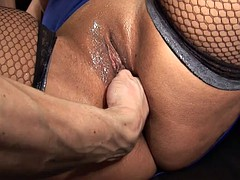 BBW french unlighted banged and jizzed on her huge chest