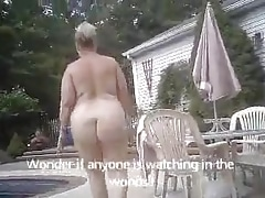 BBW Beth Walking naked and to put emphasize pool